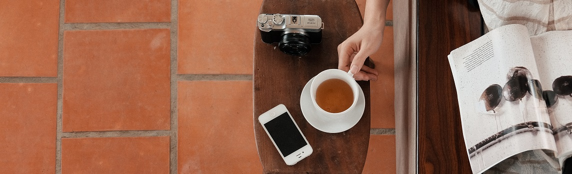 Unsplash photo-Tea, camera and phone cropped