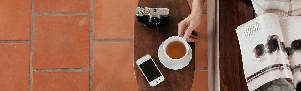 Unsplash photo-Tea, camera and phone cropped